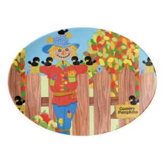 scarecrow fence scene i porcelain serving platter