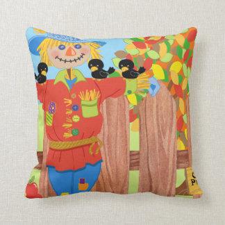 scarecrow fence scene i throw pillow