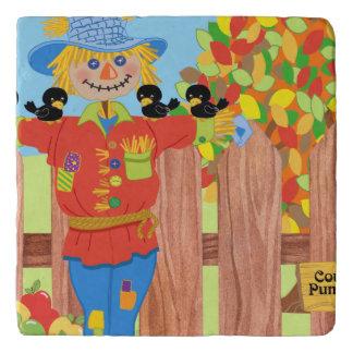 scarecrow fence scene i trivet