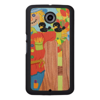 scarecrow fence scene i wood phone case