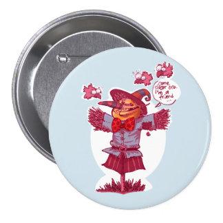 scarecrow gives friendship message cartoon 3 inch round button