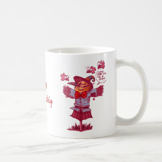 scarecrow gives friendship message cartoon coffee mug