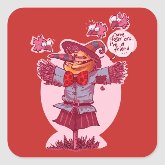 scarecrow gives friendship message cartoon square sticker