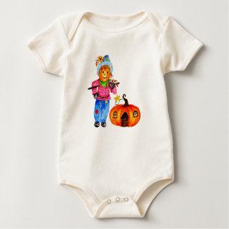 Scarecrow Guarding Halloween Pumpkin Baby Bodysuit