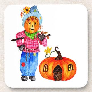 Scarecrow Guarding Halloween Pumpkin Beverage Coaster