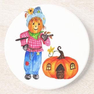 Scarecrow Guarding Halloween Pumpkin Coasters