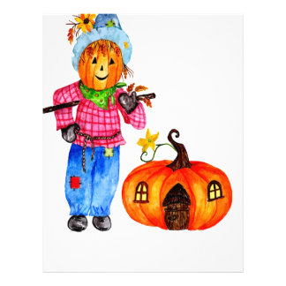 Scarecrow Guarding Halloween Pumpkin Letterhead