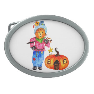 Scarecrow Guarding Halloween Pumpkin Oval Belt Buckles