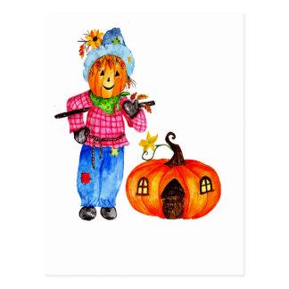 Scarecrow Guarding Halloween Pumpkin Postcard