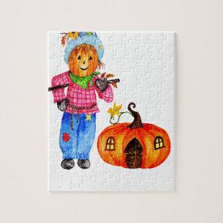 Scarecrow Guarding Halloween Pumpkin Puzzle