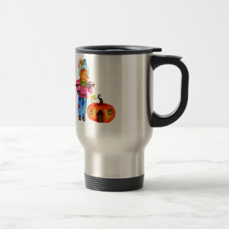 Scarecrow Guarding Halloween Pumpkin Travel Mug