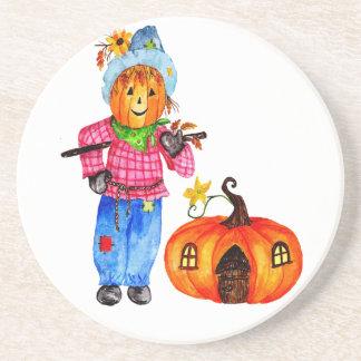 Scarecrow Guarding Pumpkin Beverage Coaster