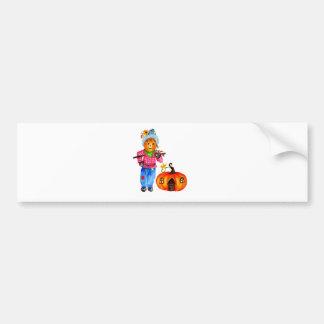 Scarecrow Guarding Pumpkin Bumper Sticker