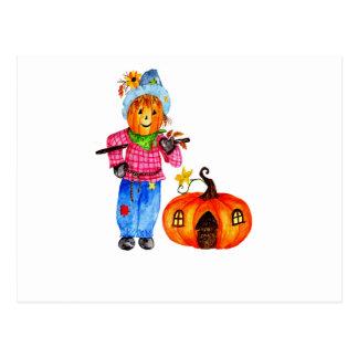 Scarecrow Guarding Pumpkin Postcard