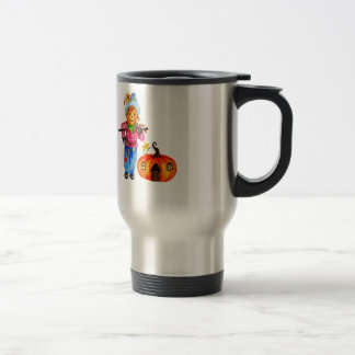 Scarecrow Guarding Pumpkin Travel Mug