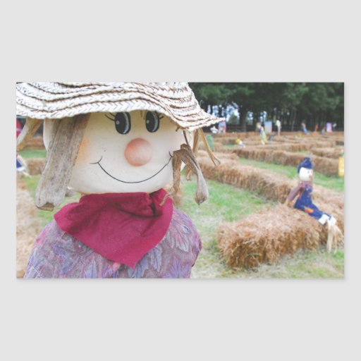 Scarecrow in a Pumpkin Patch Rectangular Stickers