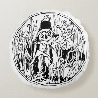Scarecrow in the Corn Round Pillow