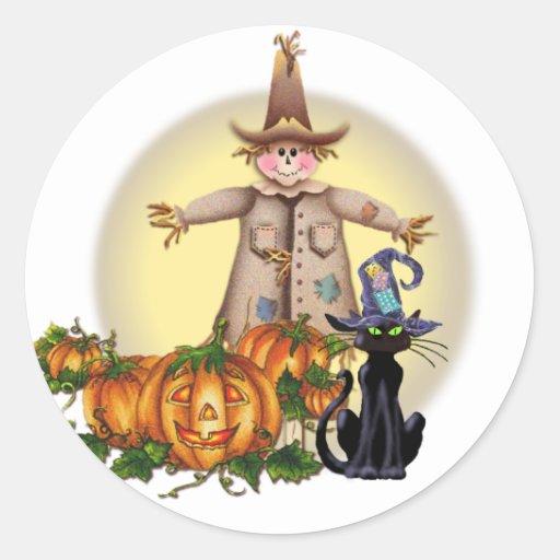 SCARECROW, JACK & CAT by SHARON SHARPE Round Stickers