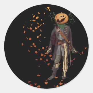 Scarecrow Jack Halloween Round Sticker