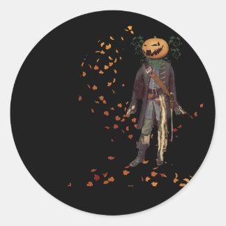 Scarecrow Jack on Black Halloween Round Sticker