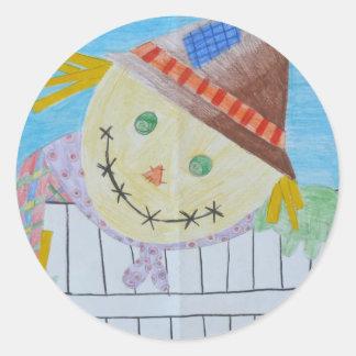 Scarecrow On A Fence Round Sticker