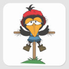 scarecrow on post square sticker