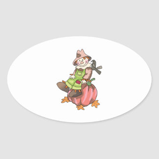 SCARECROW ON PUMPKIN OVAL STICKERS