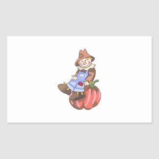 SCARECROW ON PUMPKIN RECTANGLE STICKERS