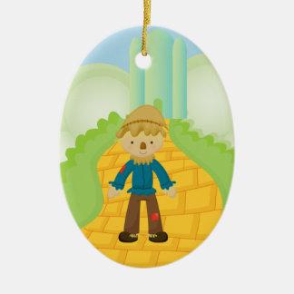 Scarecrow on Yellow Brick Road Christmas Ornament