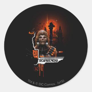 Scarecrow Orange Graphic Round Sticker