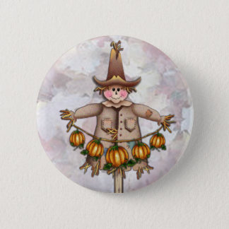 SCARECROW & PUMPKIN GARLAND by SHARON SHARPE 2 Inch Round Button