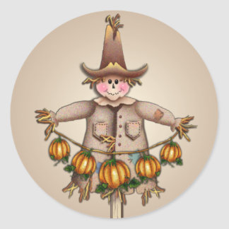 SCARECROW & PUMPKIN GARLAND by SHARON SHARPE Round Sticker