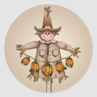SCARECROW & PUMPKIN JACK by SHARON SHARPE Round Sticker