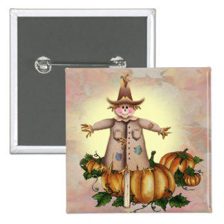 SCARECROW & PUMPKIN PATCH by SHARON SHARPE 2 Inch Square Button