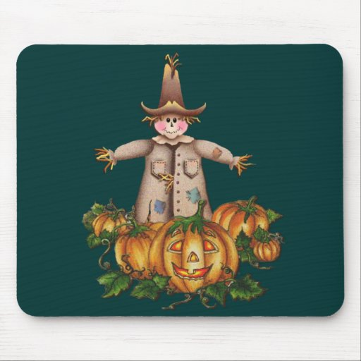 SCARECROW & PUMPKIN PATCH by SHARON SHARPE Mousepads