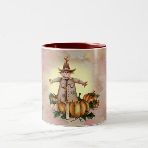 SCARECROW & PUMPKIN PATCH by SHARON SHARPE Coffee Mugs