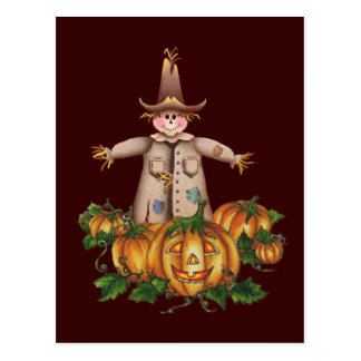 SCARECROW & PUMPKIN PATCH by SHARON SHARPE Postcard