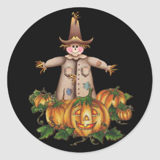 SCARECROW & PUMPKIN PATCH by SHARON SHARPE Round Sticker