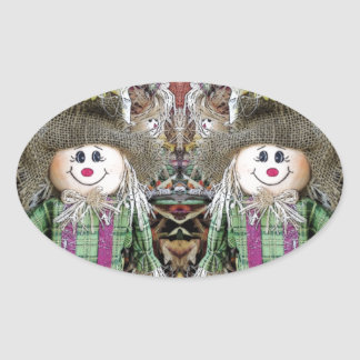 Scarecrow selfie oval stickers