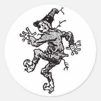 Scarecrow Striding Round Sticker