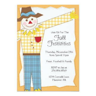 Scarecrow Thanksgiving Fall Party Invitations