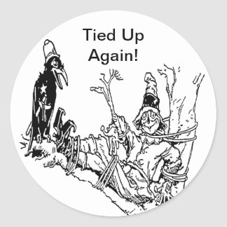 Scarecrow Tied in Tree Round Sticker
