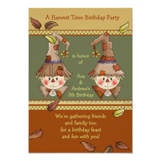 Scarecrow Twins Invitation