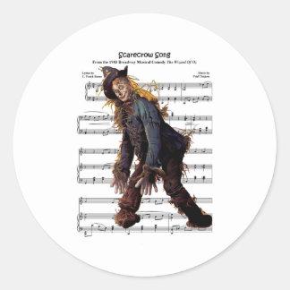 Scarecrow w/Sheet Music Background Round Stickers