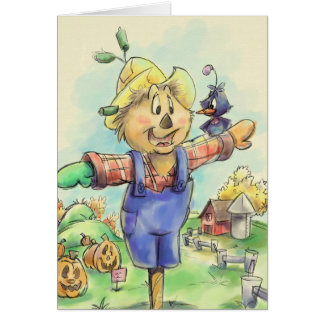scarecrow with a bird friend greeting card