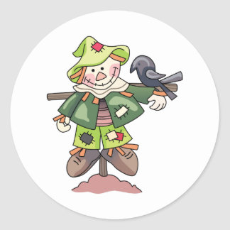 SCARECROW WITH CROW ROUND STICKERS