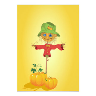 Scarecrow With Pumpkins Invitations