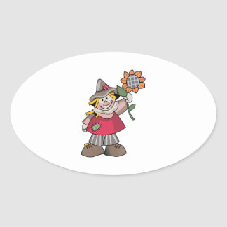 SCARECROW WITH SUNFLOWER OVAL STICKERS