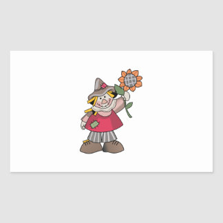 SCARECROW WITH SUNFLOWER RECTANGLE STICKERS