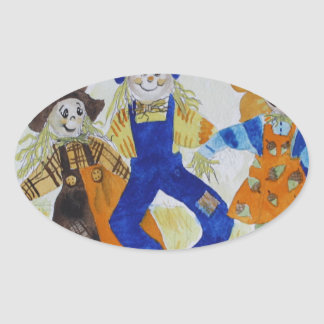 Scarecrows Dancing Oval Sticker